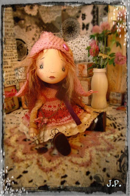 Коллекционные куклы ручной работы. Ярмарка Мастеров - ручная работа. Купить Подвижная кукла. Карина.. Handmade. Коралловый, шерсть овечья