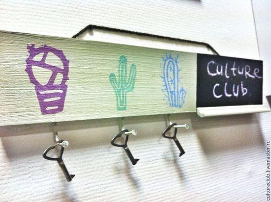 """Прихожая ручной работы. Ярмарка Мастеров - ручная работа. Купить Ключница """"кактусы"""". Handmade. Мятный, дерево, ключница, натуральное дерево"""