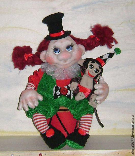 Коллекционные куклы ручной работы. Ярмарка Мастеров - ручная работа. Купить Клоунесса. Handmade. Зеленый, интерьерная кукла, подарок, капрон