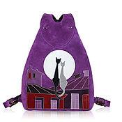 Сумки и аксессуары ручной работы. Ярмарка Мастеров - ручная работа Замшевый рюкзак Коты на крыше. Handmade.