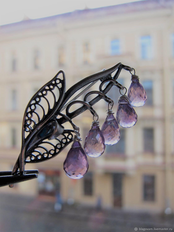 Брошь с натуральным лавандовым аметистом, Брошь-булавка, Санкт-Петербург,  Фото №1