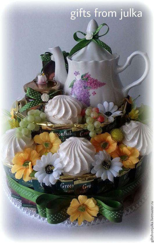 """Букеты ручной работы. Ярмарка Мастеров - ручная работа. Купить Сладкая композиция. Торт из чая,зефира и мёда """" Зефирный чай"""". Handmade."""
