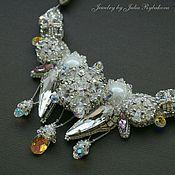 Украшения handmade. Livemaster - original item necklace handmade beaded with swarovski crystals winter white. Handmade.