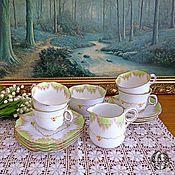Винтаж ручной работы. Ярмарка Мастеров - ручная работа Винтажный чайный сервиз Pine Grade на 4 персоны Melba Англия. Handmade.