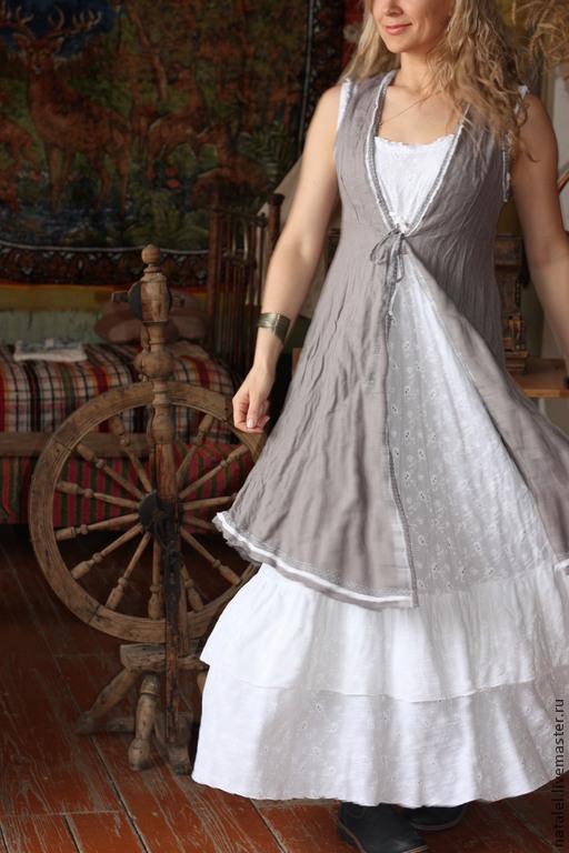 Этническая одежда ручной работы. Ярмарка Мастеров - ручная работа. Купить Сарафан льняной на завязках в бохо стиле кантри прованс. Handmade.