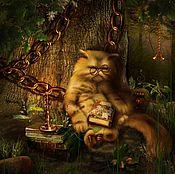 """Картины и панно ручной работы. Ярмарка Мастеров - ручная работа Картина маслом для детей """"Учёный кот Кузьма"""" 40/50см. Handmade."""