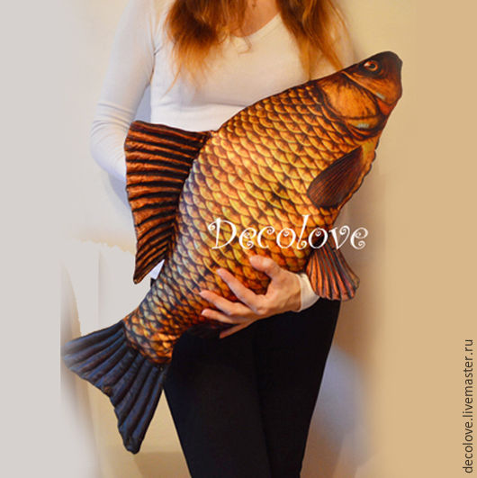 Подарки для мужчин, ручной работы. Ярмарка Мастеров - ручная работа. Купить Рыба подушка Большой Карась. Подарок мужчине на новый год. Handmade.