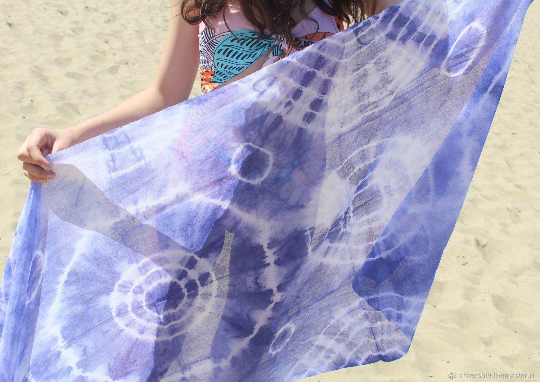 Denim,cotton scarf,hand rospis170h80 cm, Scarves, Novosibirsk,  Фото №1
