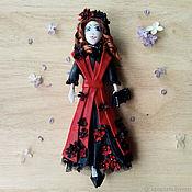 """Брошь-булавка ручной работы. Ярмарка Мастеров - ручная работа Кожаная брошь куколка """" леди"""". Handmade."""