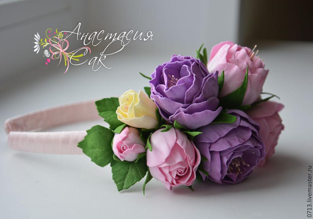 Ободок с цветами из фоамирана мастер класс
