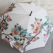 Аксессуары handmade. Livemaster - original item Cane umbrella with hand painted cherry blossoms and two birds. Handmade.