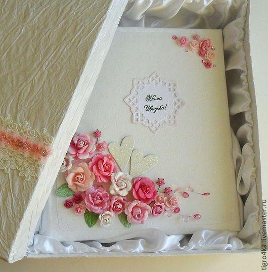 Свадебные фотоальбомы ручной работы. Ярмарка Мастеров - ручная работа. Купить АЛЬБОМ НА СВАДЬБУ розовый шик. Handmade. Розовый