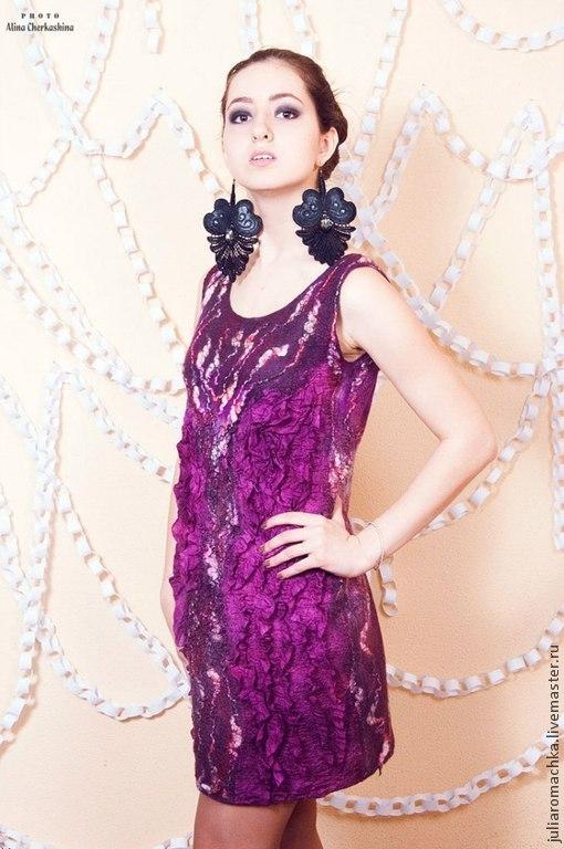 """Платья ручной работы. Ярмарка Мастеров - ручная работа. Купить Валяное платье """"ФиолеТ"""". Handmade. Фиолетовый, платье летнее, нунофелтинг"""