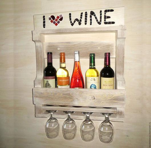 """Мебель ручной работы. Ярмарка Мастеров - ручная работа. Купить Винная полка """"Прованс"""". Handmade. Белый, вино, полка для кухни"""