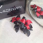 Украшения handmade. Livemaster - original item Red leather brooch. Brooch leather flower.. Handmade.