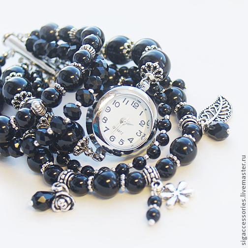 """Часы ручной работы. Ярмарка Мастеров - ручная работа. Купить """"Ночной каприз"""" (агат) - часы-браслет из черного агата. Handmade."""