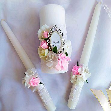 """Свадебный салон ручной работы. Ярмарка Мастеров - ручная работа Свадебные свечи """"Нежный цвет"""". Handmade."""
