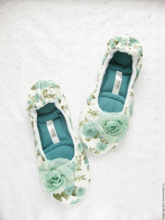 """Обувь ручной работы. Ярмарка Мастеров - ручная работа. Купить Тапочки """" Мятные"""",тапочки женские,эксклюзивная обувь, балетки домашние. Handmade."""
