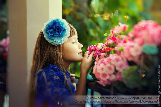 """Цветы ручной работы. Ярмарка Мастеров - ручная работа. Купить Пион  """"Клео"""". Handmade. Тёмно-синий, цветок-заколка"""