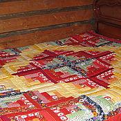 """Для дома и интерьера ручной работы. Ярмарка Мастеров - ручная работа Лоскутное одеяло-покрывало """"Красно солнце"""". Handmade."""