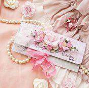 Открытки ручной работы. Ярмарка Мастеров - ручная работа Конверт для денег в розово-зеленых тонах. Handmade.