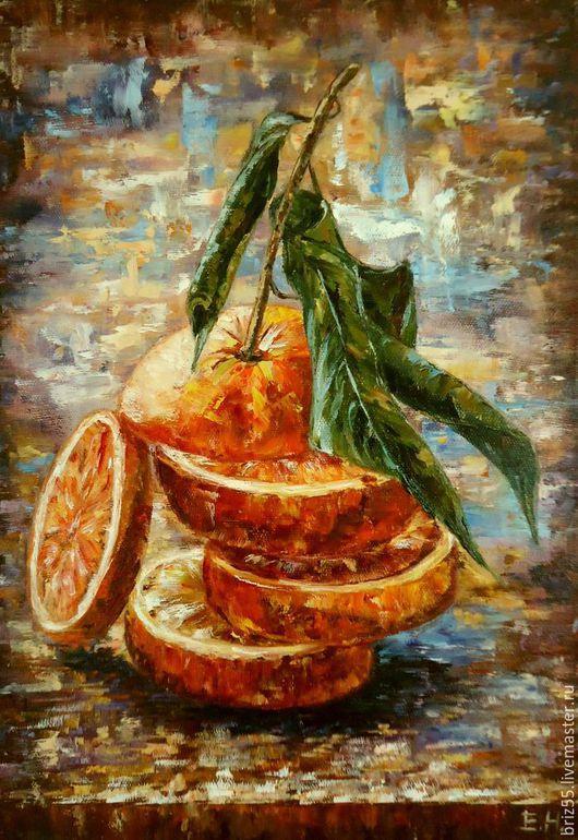 Натюрморт ручной работы. Ярмарка Мастеров - ручная работа. Купить Картина маслом Сочный апельсин. Handmade. Рыжий, картина на холсте