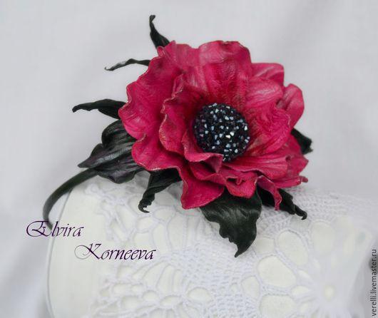 """Диадемы, обручи ручной работы. Ярмарка Мастеров - ручная работа. Купить Цветы из кожи. Ободок с розой из кожи """"Colette"""". Handmade."""