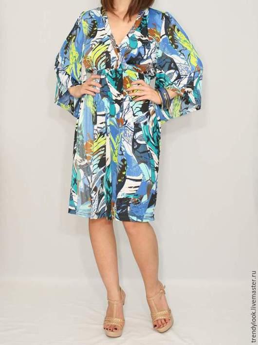 Платья ручной работы. Ярмарка Мастеров - ручная работа. Купить РАЗМЕР 46-48 Короткое платье кимоно,короткий рукав. Handmade.
