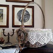Для дома и интерьера ручной работы. Ярмарка Мастеров - ручная работа Большая корзина для рукоделия с ручным кружевом (прованс, кантри). Handmade.