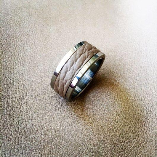 Кольца ручной работы. Ярмарка Мастеров - ручная работа. Купить Кольцо с бортами из кожи и стали. Handmade. Кольцо из стали, змея