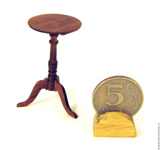 Кукольный дом ручной работы. Ярмарка Мастеров - ручная работа. Купить Столик-консоль 1:12. Handmade. Коричневый, миниатюрная мебель