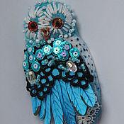 """Украшения ручной работы. Ярмарка Мастеров - ручная работа Брошь """"Голубая сова"""". Handmade."""