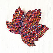 Украшения handmade. Livemaster - original item Brooch made of polymer clay - Knitted maple leaf (red). Handmade.