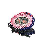 Украшения handmade. Livemaster - original item The pink soutache brooch decoration with natural stone colors of summer. Handmade.