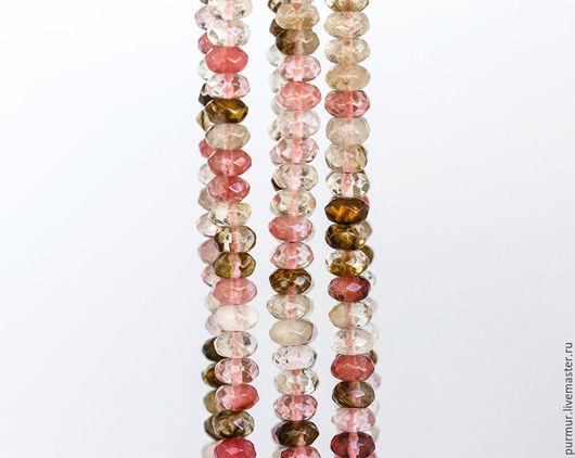 Для украшений ручной работы. Ярмарка Мастеров - ручная работа. Купить 1458_Кварц 8х5 мм, Разноцветные бусины, Натуральные камни, Розовые.. Handmade.