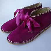 Обувь ручной работы. Ярмарка Мастеров - ручная работа Скидка! - одна пара - Ботинки цвета фуксия со стразами. Handmade.
