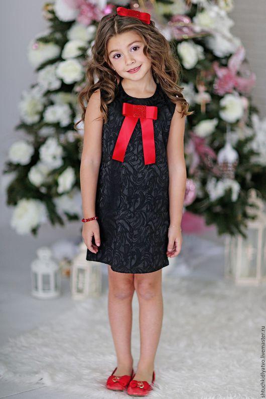 Одежда для девочек, ручной работы. Ярмарка Мастеров - ручная работа. Купить СКИДКА Черное платье без рукавов с красным бантом. Handmade.