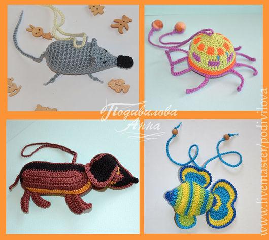 Игрушки животные, ручной работы. Ярмарка Мастеров - ручная работа. Купить Вязаные игрушки,слингоигрушки,амигуруми(рыбка, осьминог,собака,мышонок. Handmade.