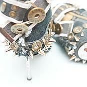 Обувь ручной работы. Ярмарка Мастеров - ручная работа Ботнки джинсовые с шипами. Handmade.