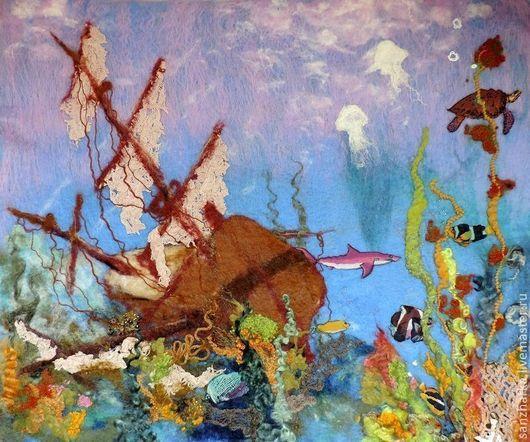 """Пейзаж ручной работы. Ярмарка Мастеров - ручная работа. Купить Картина из шерсти """"Тайна Карибского моря"""". Handmade. Картина, корабль"""