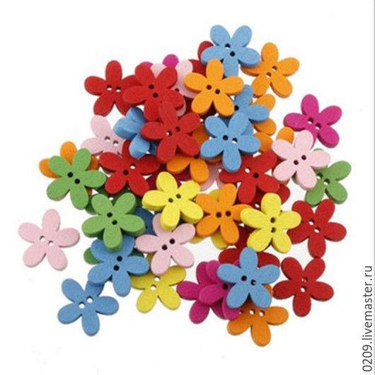 Шитье ручной работы. Ярмарка Мастеров - ручная работа. Купить пуговицы деревянные цветочки 15мм. Handmade. Фуксия, пуговицы для игрушек