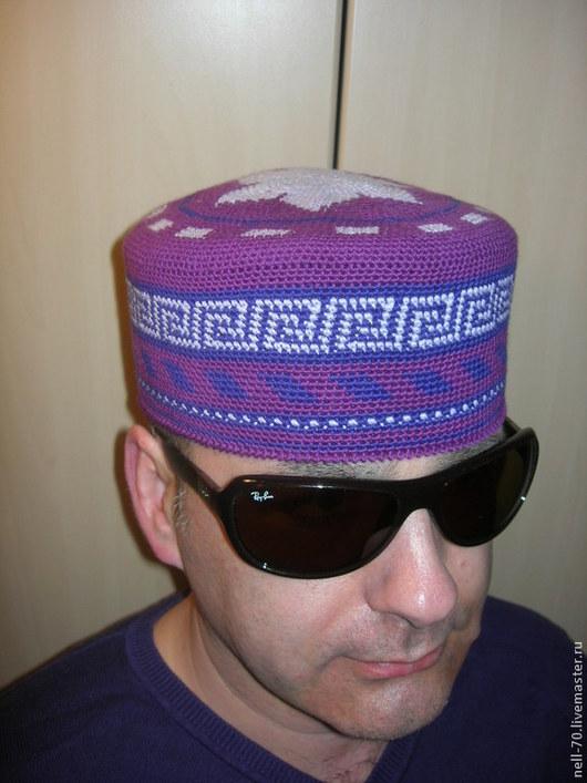 """Для мужчин, ручной работы. Ярмарка Мастеров - ручная работа. Купить Шапка  """"Султан-4"""". Handmade. Фиолетовый, на лето"""