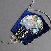 Украшения handmade. Livemaster - original item A necklace with a pendant IN the depths of the quartz, prehnite, agate, beads, velvet, silver. Handmade.