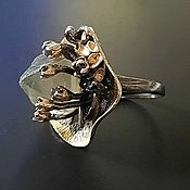 Украшения handmade. Livemaster - original item Ring with raw fluorite and sapphires. Handmade.