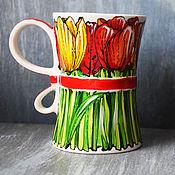 """Посуда ручной работы. Ярмарка Мастеров - ручная работа Чашка-букет """"Тюльпаны"""" (0157). Handmade."""