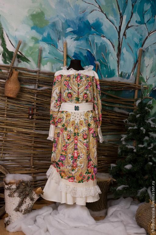 """Платья ручной работы. Ярмарка Мастеров - ручная работа. Купить Платье """"Мороз и солнце"""". Handmade. Платье нарядное, павловопосадский платок"""