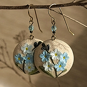 Украшения handmade. Livemaster - original item Round earrings with forget-me-nots. Handmade.