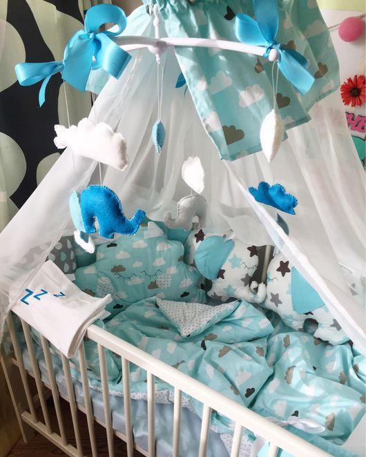 """Для новорожденных, ручной работы. Ярмарка Мастеров - ручная работа. Купить Комплект в кроватку """"Тучка-облачко"""". Handmade. Балдахин, фетр"""