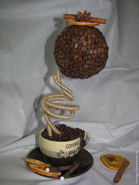 Топиарии ручной работы. Ярмарка Мастеров - ручная работа. Купить Кофейный топиарий. Черный кофе... Сигарета.... Handmade. Коричневый, бадьян