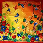 """Аксессуары ручной работы. Ярмарка Мастеров - ручная работа Платок батик """"Лето, солнце, бабочки..."""". Handmade."""